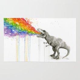 T-Rex Dinosaur Rainbow Puke Taste the Rainbow Watercolor Rug