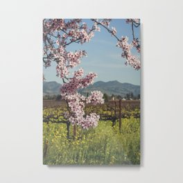 Cherry and Mustard Flowers Metal Print