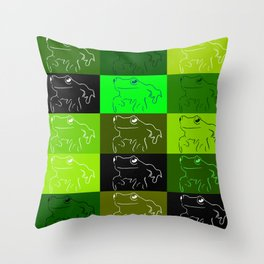 Green tree frog pattern, drawings of frogs, in green, for stickers, frog stickers, Throw Pillow