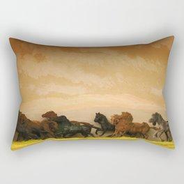 Toys Horses Diorama Rectangular Pillow