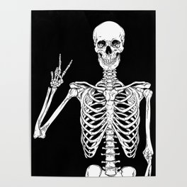 Human skeleton posing isolated over black background vector illustration Poster
