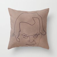 quibe Throw Pillows featuring One line Shining by quibe