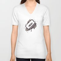 cassette V-neck T-shirts featuring Cassette by One Curious Chip