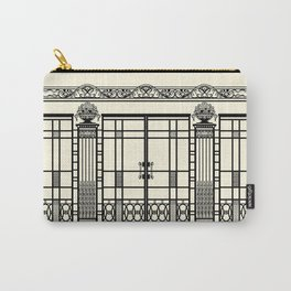 ART DECO, ART NOUVEAU IRONWORK: Black and Cream Carry-All Pouch