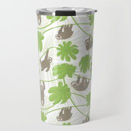 Happy Sloths and Cecropia leaves Travel Mug