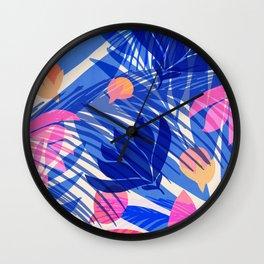 Breezy Tropics / Bright Abstract Floral Print Wall Clock