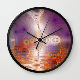 Ice Gold, Abstract Fractal Underground Lake  Wall Clock