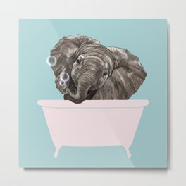 Baby Elephant in Bathtub Metal Print