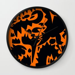 Halloween Monsters and Bats in the orange night Wall Clock