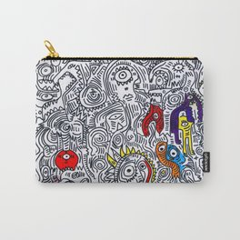 Pattern Doddle Hand Drawn  Black and White Colors Street Art Carry-All Pouch