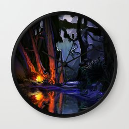 The Owl and the Wolf Wall Clock
