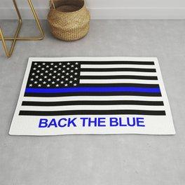 Thin Blue Line Back the Blue Flag Rug