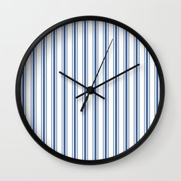 Mattress Ticking Wide Striped Pattern in Dark Blue and White Wall Clock