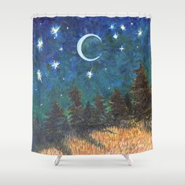 Night Sky over Forest Shower Curtain