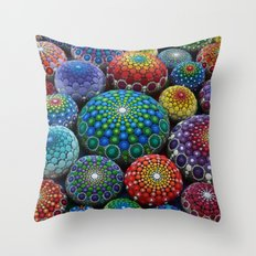 Jewel Drop Mandala Stone Collection #1 Throw Pillow
