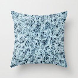 Powder Blue Ink on Black  Throw Pillow