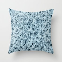Powder Blue Ink on Black Throw Pillow