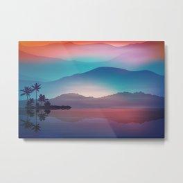 Sea and Palm Trees at Night Metal Print