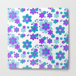 Turquoise Teal Blue and Purple Floral Metal Print