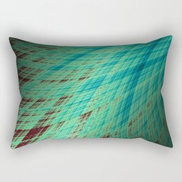 Run Off - Teal and Brown - Fractal Art Rectangular Pillow