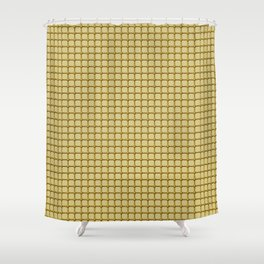 Golden Yellow Industrial Grid and Rivet Grill Pattern Shower Curtain