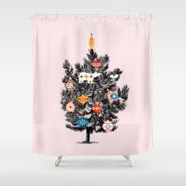 Retro Christmas tree no3 Shower Curtain