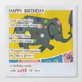 Happy Birthday Mixed Media Collage and Words Canvas Print