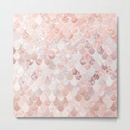 Mermaid Art, Blush Millennial Pink and Rose Gold Metal Print