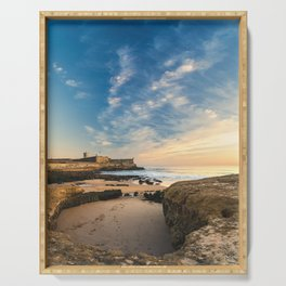 Beach of Carcavelos & Saint Julian Fortress, Portugal Serving Tray