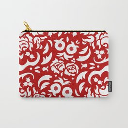 White Peonies on Red Carry-All Pouch