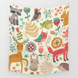 Woodland Animal Pattern Wall Tapestry