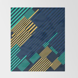 Green and Gold Linear Pattern Throw Blanket