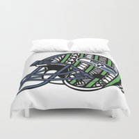 seahawks Duvet Covers featuring Polynesian Style Seahawks by Lonica Photography & Poly Designs