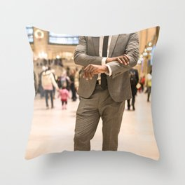 fashion male business man on the grand central station in nyc Throw Pillow