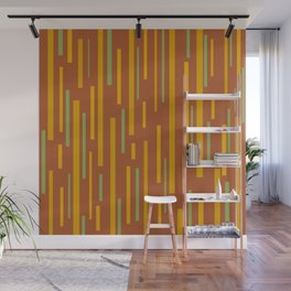 Interrupted Lines Mid-Century Modern Pattern in Mustard Yellow, Ochre, Green, and Clay Wall Mural