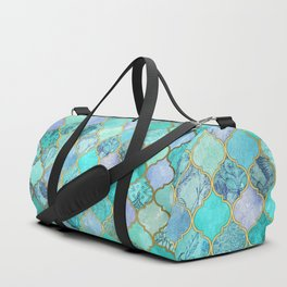 Cool Jade & Icy Mint Decorative Moroccan Tile Pattern Duffle Bag