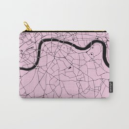 London Pink on Black Street Map Carry-All Pouch