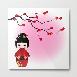 Japanese kokeshi doll at sakura blossoms Metal Print