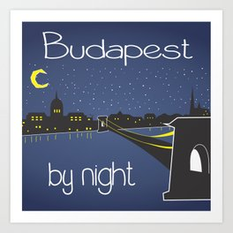 Budapest by night, poster, squared design Art Print