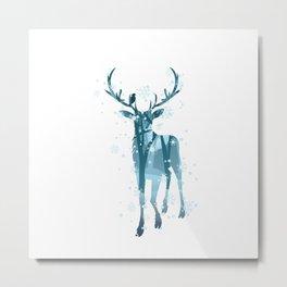 Winter Deer Silhouette Metal Print