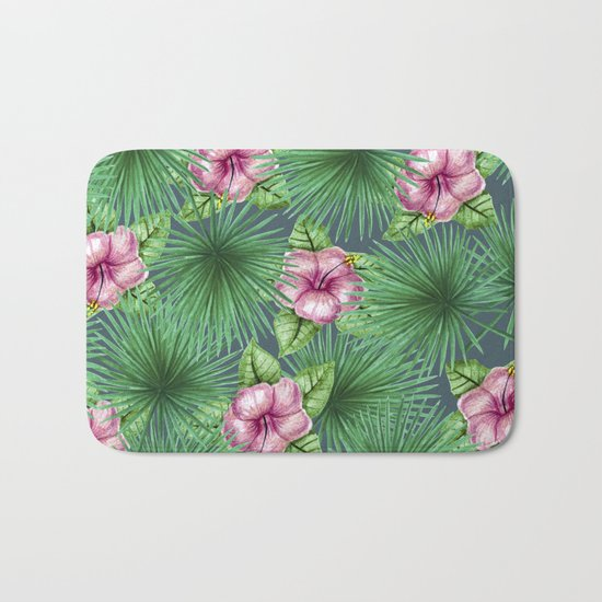 Jungle Love, Palm Leaves And Hibiscus Bath Mat