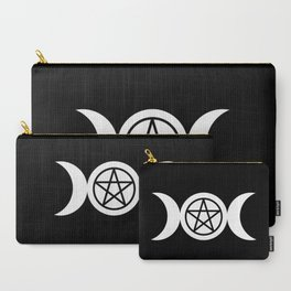 Goddess and Pentacle Symbols - White on Black Carry-All Pouch