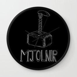 Thor's hammer: Mjolnir - superhero illustration Wall Clock