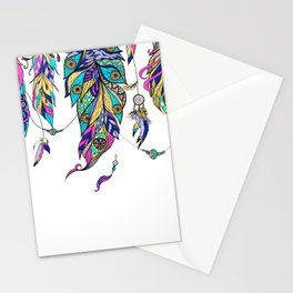 Colorful tribal feathers design Stationery Cards