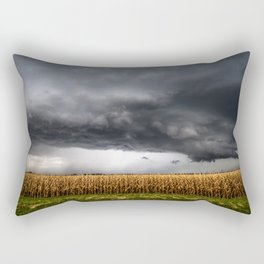 Corn Field - Storm Over Withered Crop in Southern Kansas Rectangular Pillow