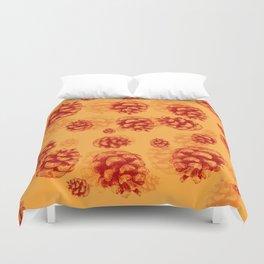 Conifer cone pattern - orange Duvet Cover