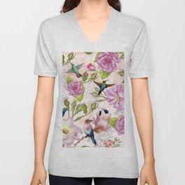 Vintage Roses and Hummingbird Pattern Unisex V-Neck
