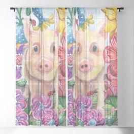 Penelope Pig Sheer Curtain