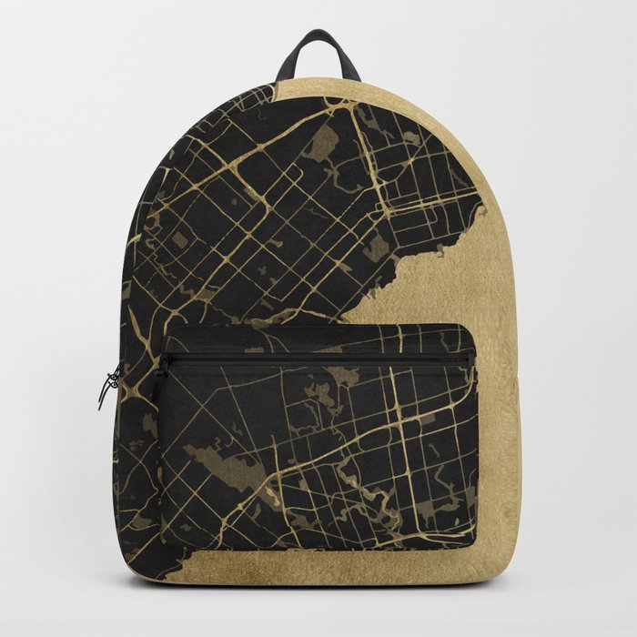 Toronto Gold and Black Street Map Backpack