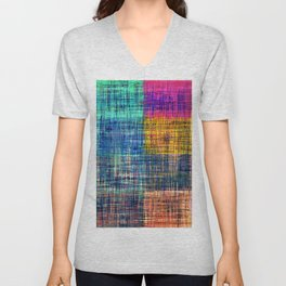 vintage square plaid pattern painting abstract in blue green brown pink Unisex V-Neck